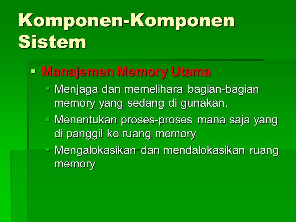 Komponen-Komponen Sistem  Manajemen Memory Utama  Menjaga dan memelihara bagian-bagian memory yang sedang di gunakan.  Menentukan proses-proses man