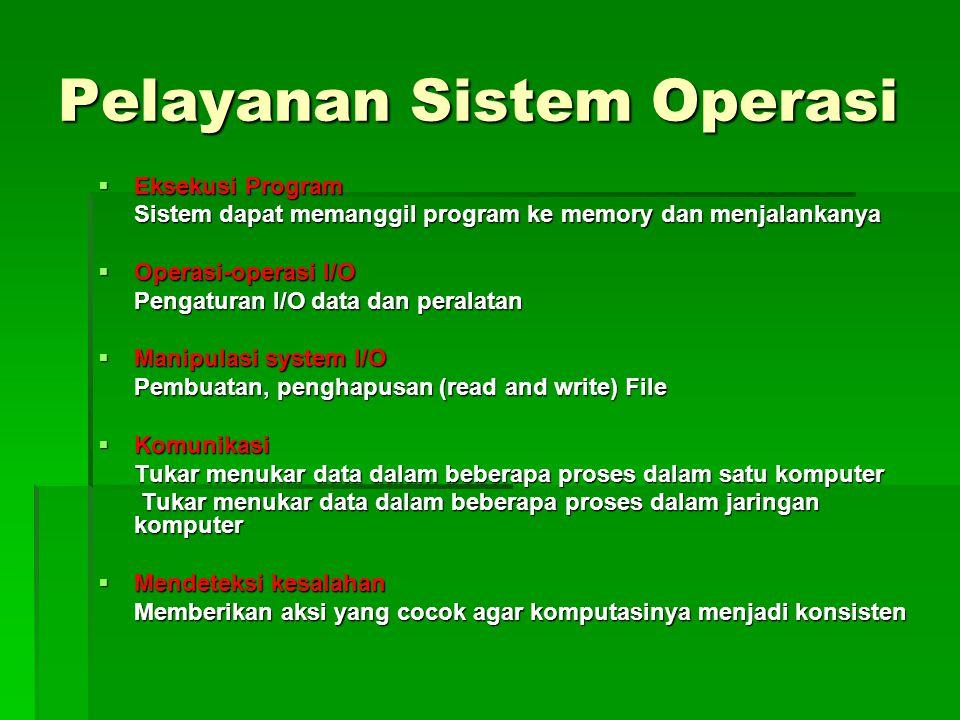 Pelayanan Sistem Operasi  Eksekusi Program Sistem dapat memanggil program ke memory dan menjalankanya  Operasi-operasi I/O Pengaturan I/O data dan p