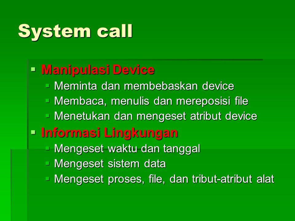 System call  Manipulasi Device  Meminta dan membebaskan device  Membaca, menulis dan mereposisi file  Menetukan dan mengeset atribut device  Info