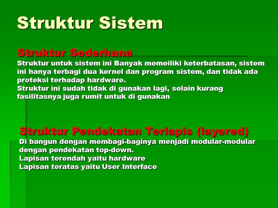 Struktur Sistem Struktur Sederhana Struktur untuk sistem ini Banyak memeiliki keterbatasan, sistem ini hanya terbagi dua kernel dan program sistem, da