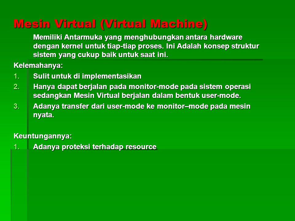 Mesin Virtual (Virtual Machine) Memiliki Antarmuka yang menghubungkan antara hardware dengan kernel untuk tiap-tiap proses.