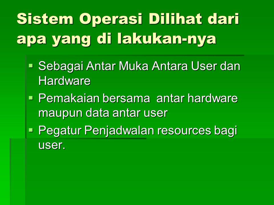 Sistem Operasi Dilihat dari apa yang di lakukan-nya  Sebagai Antar Muka Antara User dan Hardware  Pemakaian bersama antar hardware maupun data antar user  Pegatur Penjadwalan resources bagi user.