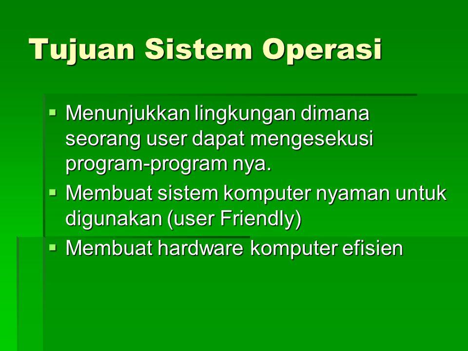 Tujuan Sistem Operasi  Menunjukkan lingkungan dimana seorang user dapat mengesekusi program-program nya.  Membuat sistem komputer nyaman untuk digun