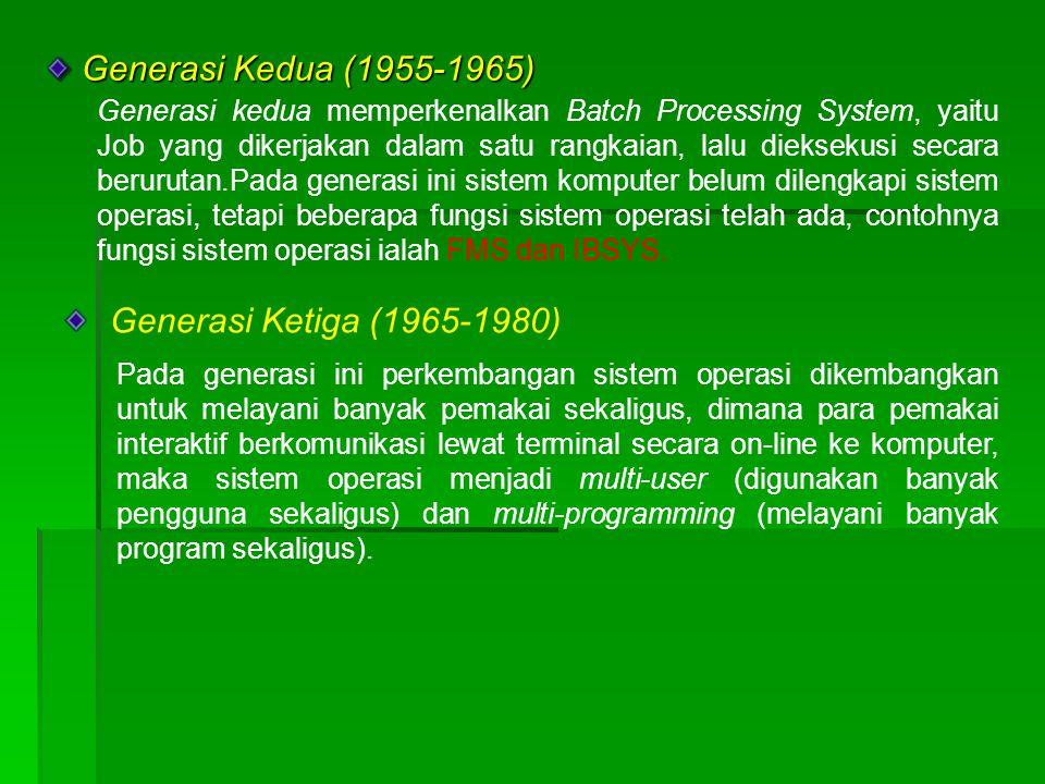 Generasi Keempat (Pasca 1980an) Generasi Keempat (Pasca 1980an) Dewasa ini, sistem operasi dipergunakan untuk jaringan komputer dimana pemakai menyadari keberadaan komputer-komputer yang saling terhubung satu sama lainnya.