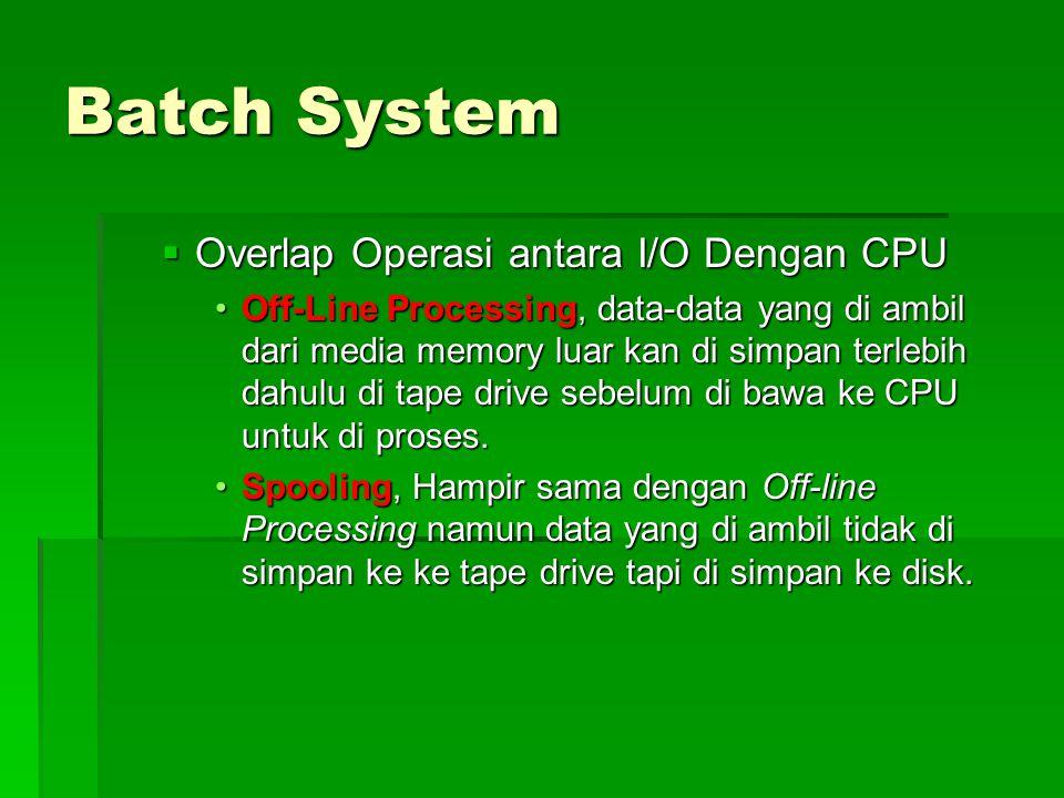 Batch System  Overlap Operasi antara I/O Dengan CPU Off-Line Processing, data-data yang di ambil dari media memory luar kan di simpan terlebih dahulu di tape drive sebelum di bawa ke CPU untuk di proses.Off-Line Processing, data-data yang di ambil dari media memory luar kan di simpan terlebih dahulu di tape drive sebelum di bawa ke CPU untuk di proses.