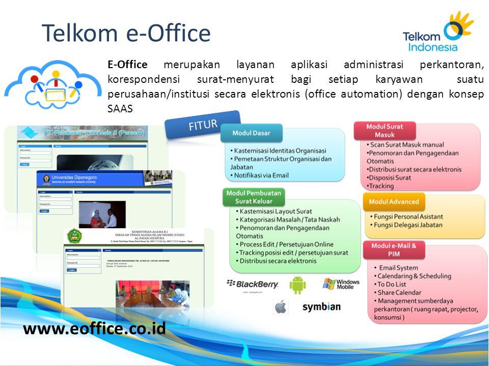 E-Office merupakan layanan aplikasi administrasi perkantoran, korespondensi surat-menyurat bagi setiap karyawan suatu perusahaan/institusi secara elek