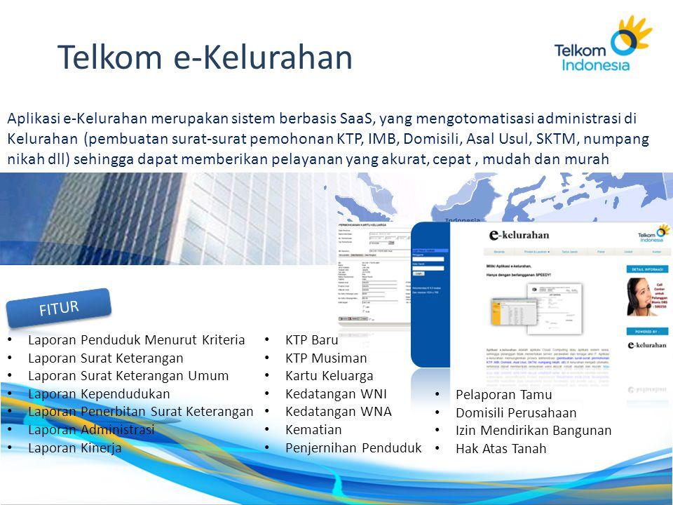Aplikasi e-Kelurahan merupakan sistem berbasis SaaS, yang mengotomatisasi administrasi di Kelurahan (pembuatan surat-surat pemohonan KTP, IMB, Domisil