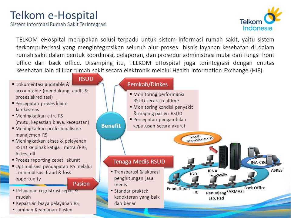 Telkom e-Hospital Sistem Informasi Rumah Sakit Terintegrasi TELKOM eHospital merupakan solusi terpadu untuk sistem informasi rumah sakit, yaitu sistem