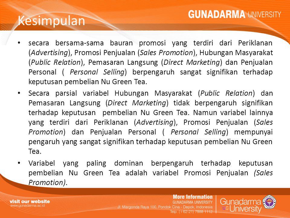 Kesimpulan secara bersama-sama bauran promosi yang terdiri dari Periklanan (Advertising), Promosi Penjualan (Sales Promotion), Hubungan Masyarakat (Pu