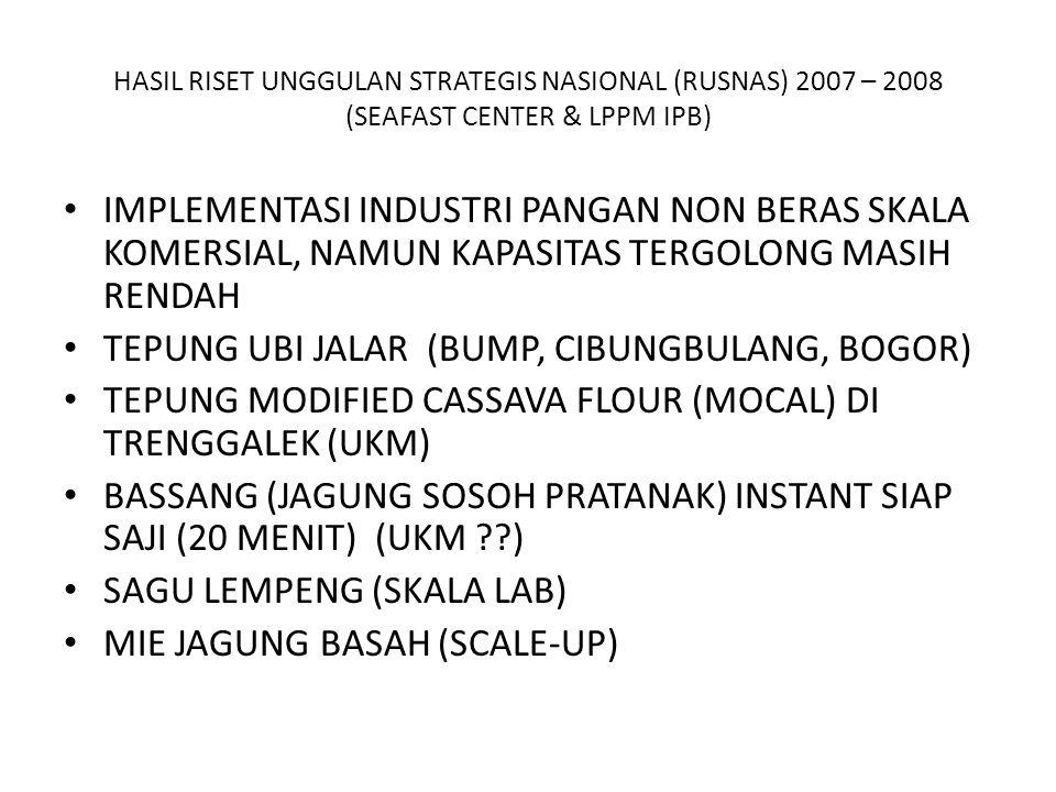 HASIL RISET UNGGULAN STRATEGIS NASIONAL (RUSNAS) 2007 – 2008 (SEAFAST CENTER & LPPM IPB) IMPLEMENTASI INDUSTRI PANGAN NON BERAS SKALA KOMERSIAL, NAMUN KAPASITAS TERGOLONG MASIH RENDAH TEPUNG UBI JALAR (BUMP, CIBUNGBULANG, BOGOR) TEPUNG MODIFIED CASSAVA FLOUR (MOCAL) DI TRENGGALEK (UKM) BASSANG (JAGUNG SOSOH PRATANAK) INSTANT SIAP SAJI (20 MENIT) (UKM ??) SAGU LEMPENG (SKALA LAB) MIE JAGUNG BASAH (SCALE-UP)
