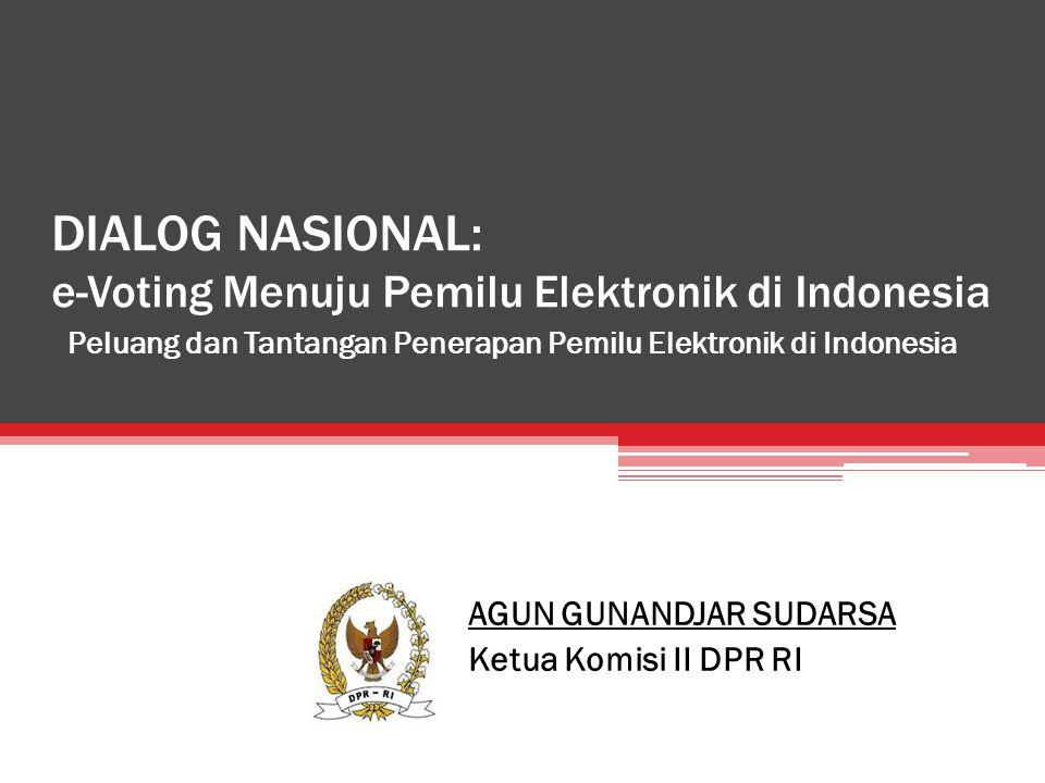 DIALOG NASIONAL: e-Voting Menuju Pemilu Elektronik di Indonesia Peluang dan Tantangan Penerapan Pemilu Elektronik di Indonesia AGUN GUNANDJAR SUDARSA