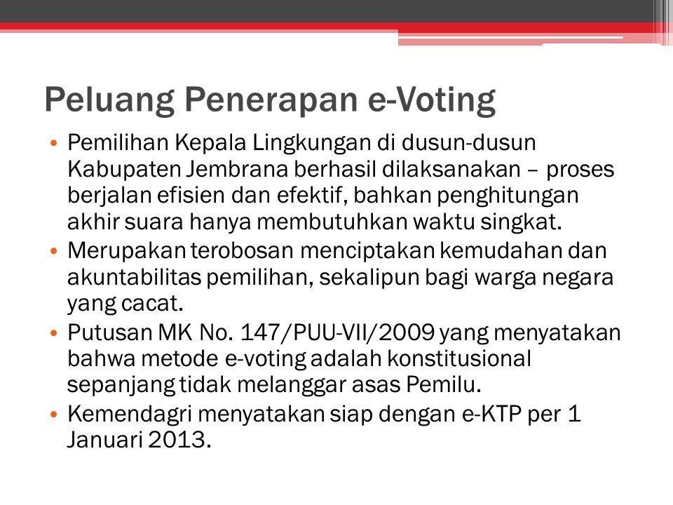 Peluang Penerapan e-Voting Pemilihan Kepala Lingkungan di dusun-dusun Kabupaten Jembrana berhasil dilaksanakan – proses berjalan efisien dan efektif,