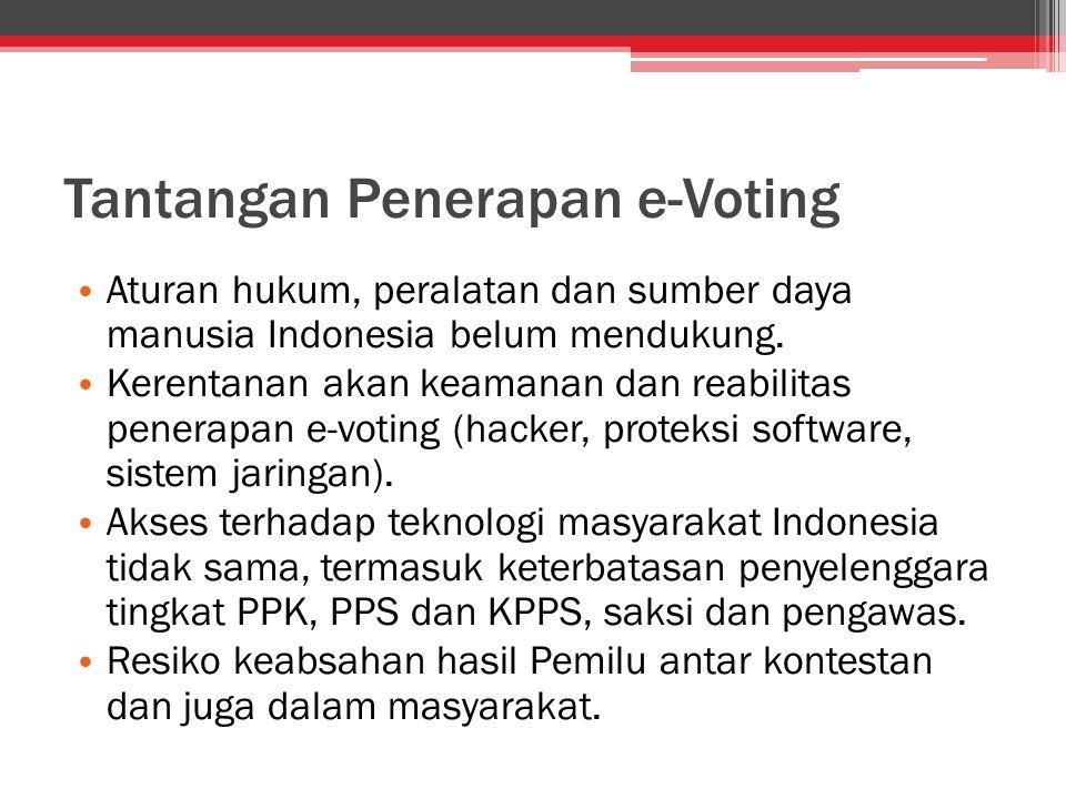 Tantangan Penerapan e-Voting Aturan hukum, peralatan dan sumber daya manusia Indonesia belum mendukung. Kerentanan akan keamanan dan reabilitas penera