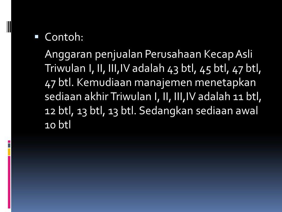  Contoh: Anggaran penjualan Perusahaan Kecap Asli Triwulan I, II, III,IV adalah 43 btl, 45 btl, 47 btl, 47 btl. Kemudiaan manajemen menetapkan sediaa