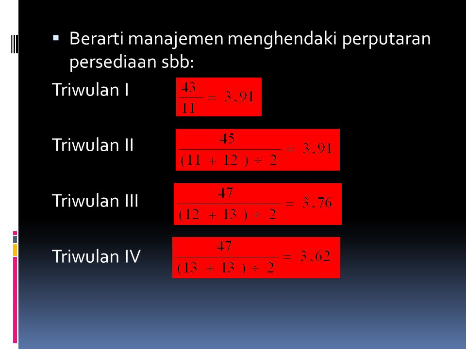  Berarti manajemen menghendaki perputaran persediaan sbb: Triwulan I Triwulan II Triwulan III Triwulan IV