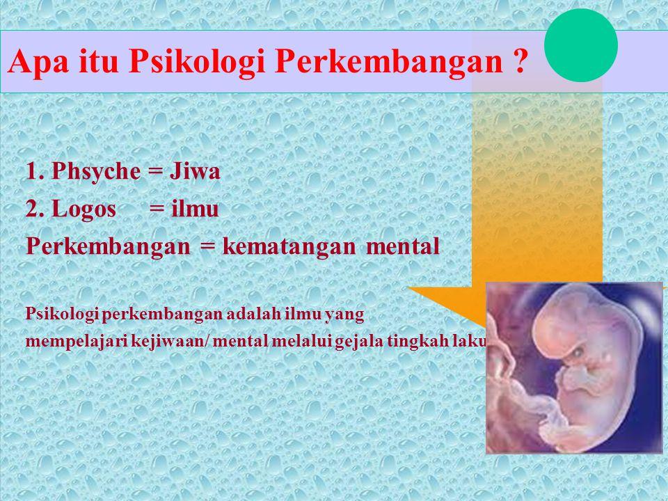 1. Phsyche = Jiwa 2. Logos = ilmu Perkembangan = kematangan mental Psikologi perkembangan adalah ilmu yang mempelajari kejiwaan/ mental melalui gejala