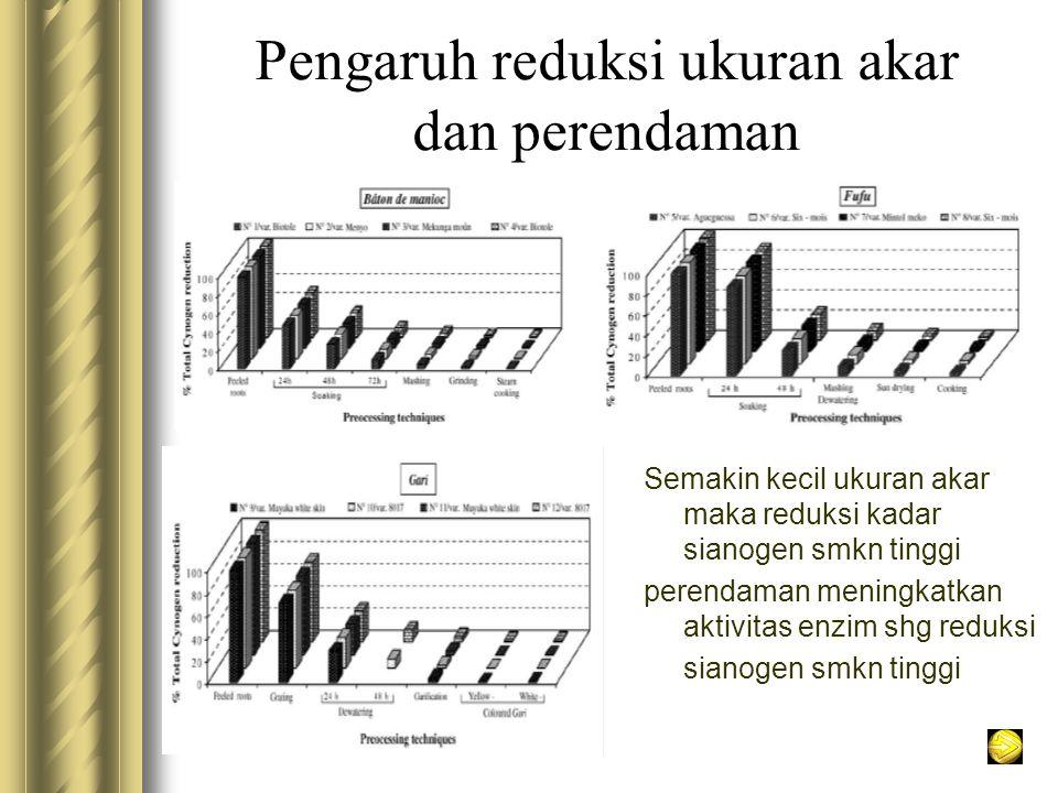 Pengaruh reduksi ukuran akar dan perendaman Semakin kecil ukuran akar maka reduksi kadar sianogen smkn tinggi perendaman meningkatkan aktivitas enzim