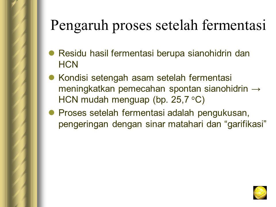 Pengaruh proses setelah fermentasi Residu hasil fermentasi berupa sianohidrin dan HCN Kondisi setengah asam setelah fermentasi meningkatkan pemecahan