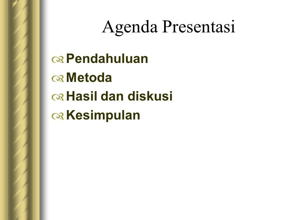 Agenda Presentasi  Pendahuluan  Metoda  Hasil dan diskusi  Kesimpulan