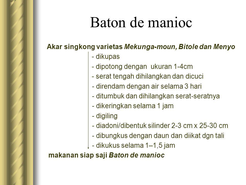 Baton de manioc Akar singkong varietas Mekunga-moun, Bitole dan Menyo - dikupas - dipotong dengan ukuran 1-4cm - serat tengah dihilangkan dan dicuci -