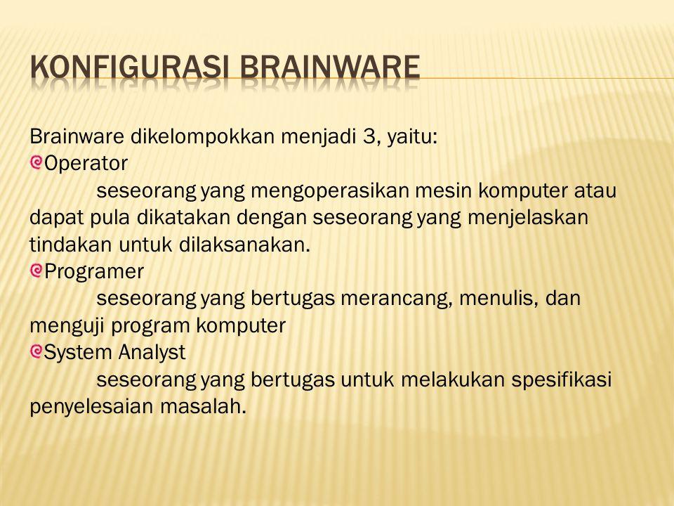 Brainware dikelompokkan menjadi 3, yaitu: Operator seseorang yang mengoperasikan mesin komputer atau dapat pula dikatakan dengan seseorang yang menjelaskan tindakan untuk dilaksanakan.