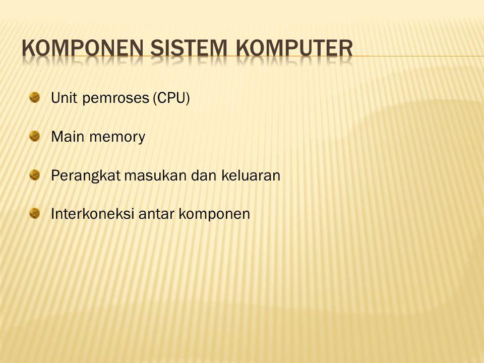 Unit pemroses (CPU) Main memory Perangkat masukan dan keluaran Interkoneksi antar komponen
