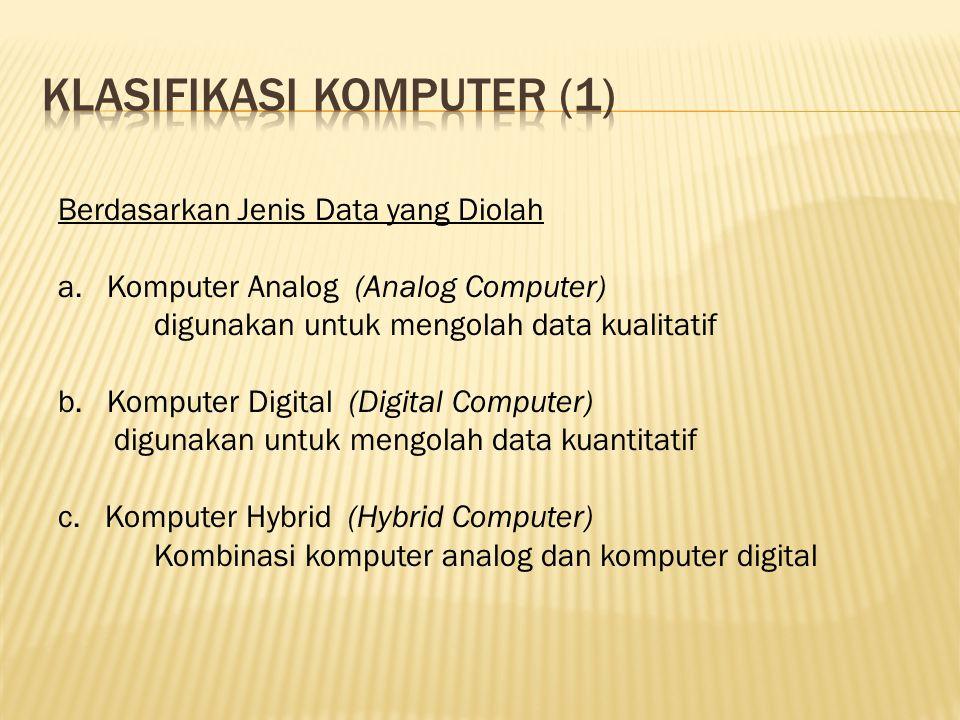 Unit pemroses Mengendalikan operasi komputer dan melakukan fungsi pemrosesan data, yang terdiri dari ALU, CU, Register.