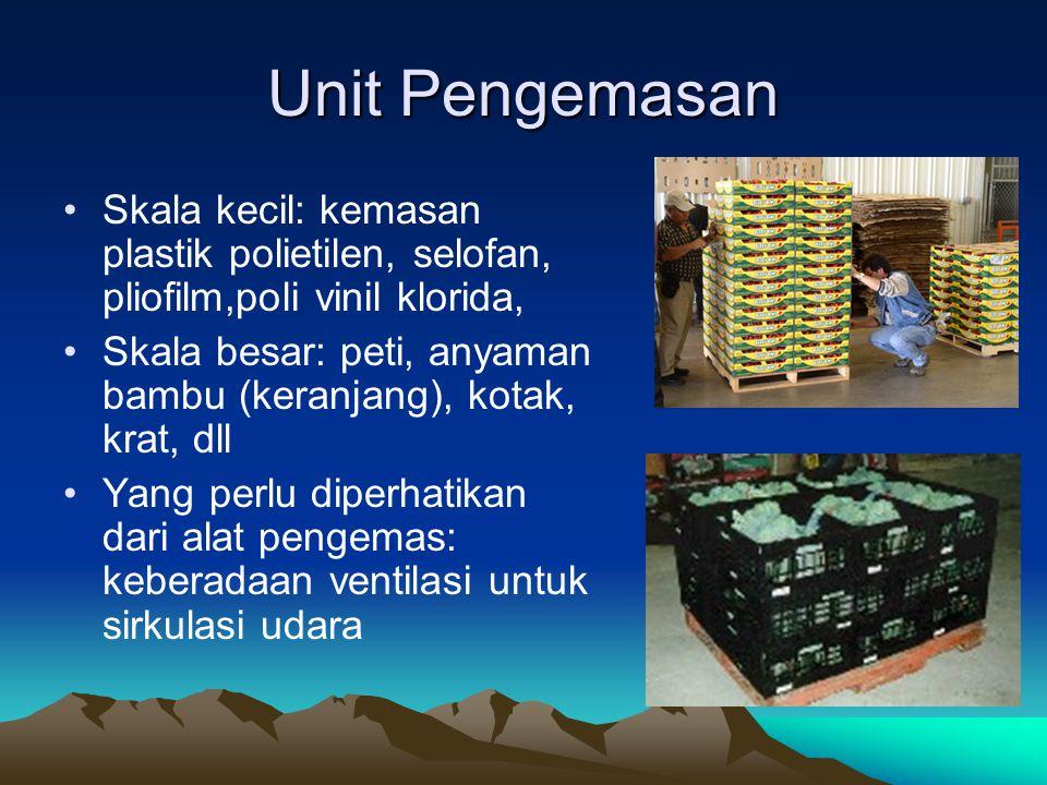 Unit Pengemasan Skala kecil: kemasan plastik polietilen, selofan, pliofilm,poli vinil klorida, Skala besar: peti, anyaman bambu (keranjang), kotak, kr