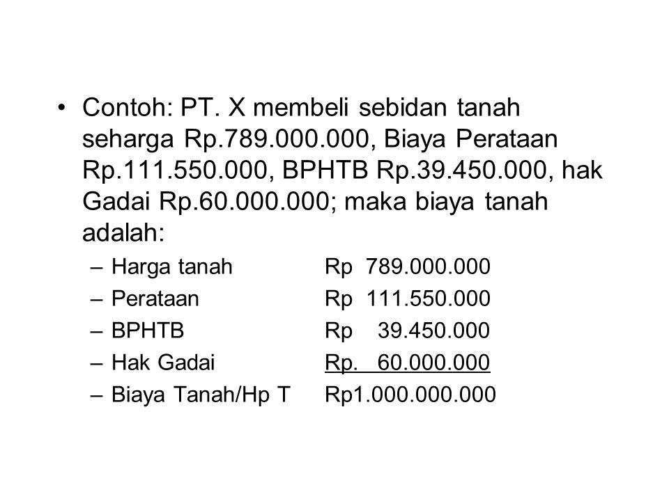 Contoh: PT. X membeli sebidan tanah seharga Rp.789.000.000, Biaya Perataan Rp.111.550.000, BPHTB Rp.39.450.000, hak Gadai Rp.60.000.000; maka biaya ta