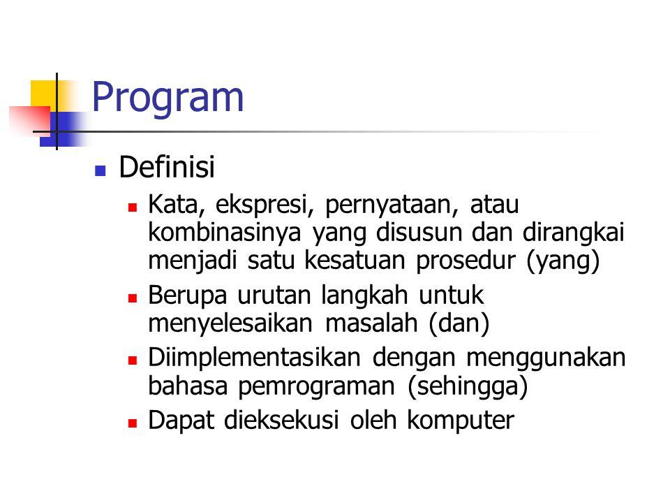 Program Definisi Kata, ekspresi, pernyataan, atau kombinasinya yang disusun dan dirangkai menjadi satu kesatuan prosedur (yang) Berupa urutan langkah