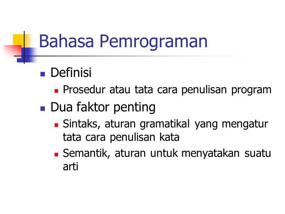 Bahasa Pemrograman Definisi Prosedur atau tata cara penulisan program Dua faktor penting Sintaks, aturan gramatikal yang mengatur tata cara penulisan