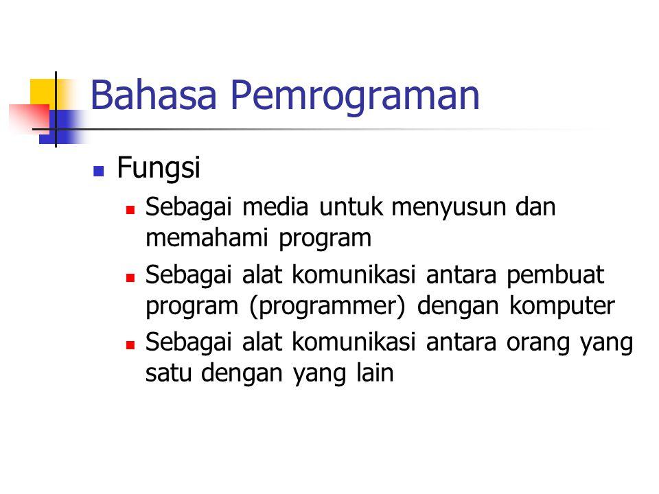 Bahasa Pemrograman Fungsi Sebagai media untuk menyusun dan memahami program Sebagai alat komunikasi antara pembuat program (programmer) dengan kompute