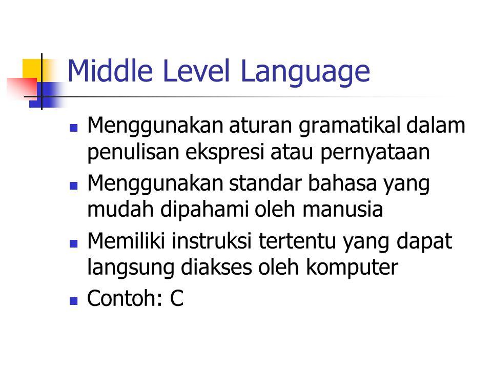 Middle Level Language Menggunakan aturan gramatikal dalam penulisan ekspresi atau pernyataan Menggunakan standar bahasa yang mudah dipahami oleh manus