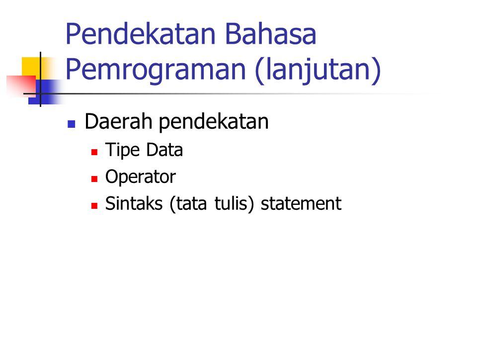 Pendekatan Bahasa Pemrograman (lanjutan) Daerah pendekatan Tipe Data Operator Sintaks (tata tulis) statement