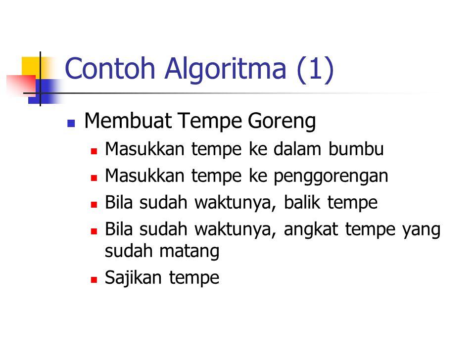 Contoh Algoritma (1) Membuat Tempe Goreng Masukkan tempe ke dalam bumbu Masukkan tempe ke penggorengan Bila sudah waktunya, balik tempe Bila sudah wak