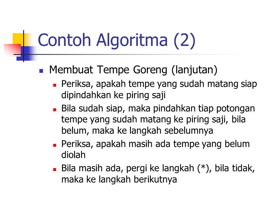 Contoh Algoritma (2) Membuat Tempe Goreng (lanjutan) Periksa, apakah tempe yang sudah matang siap dipindahkan ke piring saji Bila sudah siap, maka pin