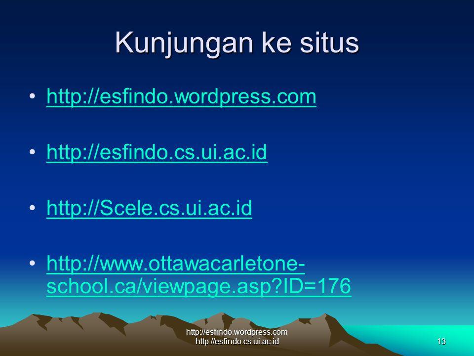 http://esfindo.wordpress.com http://esfindo.cs.ui.ac.id13 Kunjungan ke situs http://esfindo.wordpress.com http://esfindo.cs.ui.ac.id http://Scele.cs.ui.ac.id http://www.ottawacarletone- school.ca/viewpage.asp ID=176http://www.ottawacarletone- school.ca/viewpage.asp ID=176