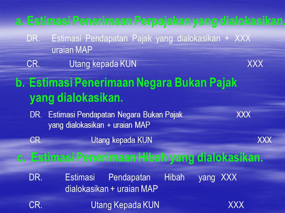 a. Estimasi Penerimaan Perpajakan yang dialokasikan. DR.Estimasi Pendapatan Pajak yang dialokasikan + uraian MAP XXX CR.Utang kepada KUNXXX b. Estimas