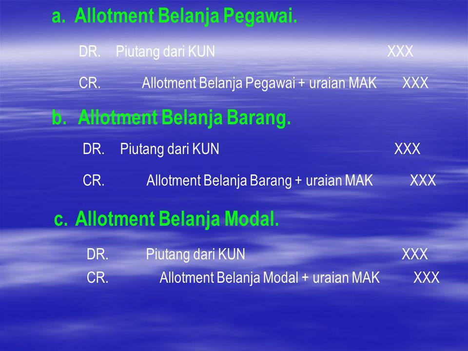 a. Allotment Belanja Pegawai. DR.Piutang dari KUNXXX CR.Allotment Belanja Pegawai + uraian MAKXXX b. Allotment Belanja Barang. DR.Piutang dari KUNXXX