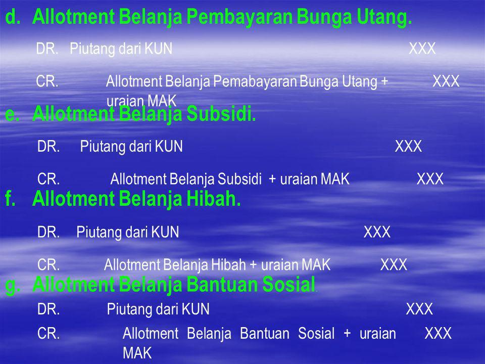 d. Allotment Belanja Pembayaran Bunga Utang. DR.Piutang dari KUNXXX CR. Allotment Belanja Pemabayaran Bunga Utang + uraian MAK XXX e. Allotment Belanj