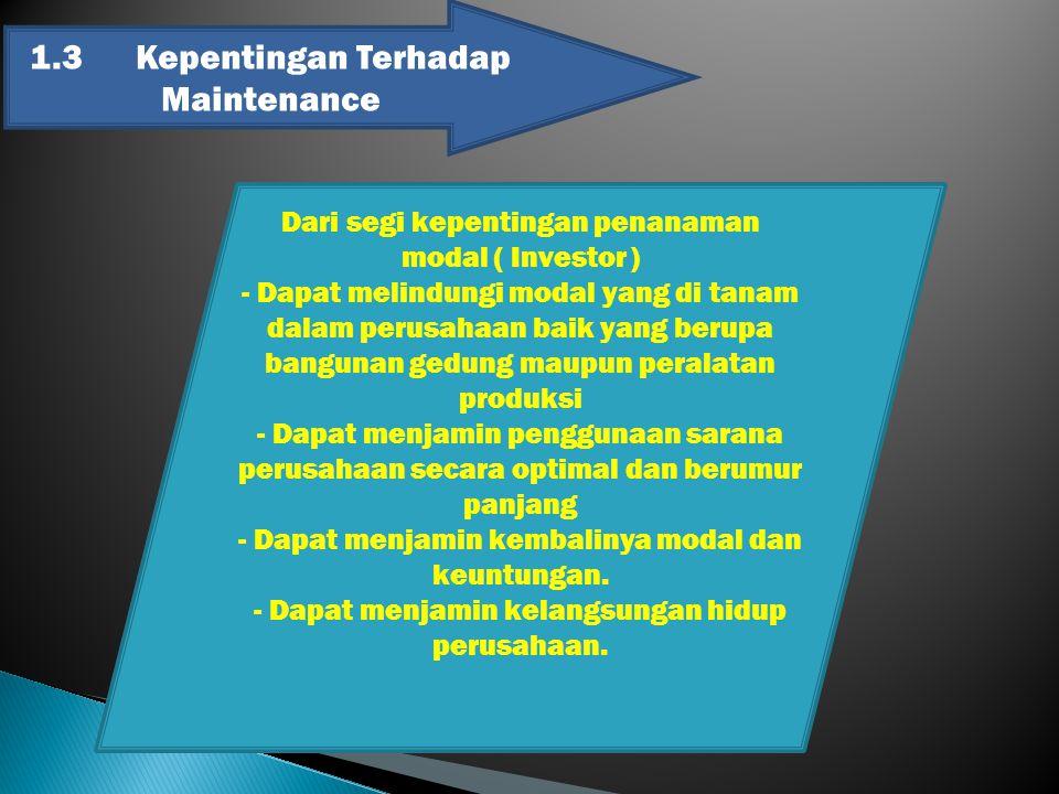 1.3Kepentingan Terhadap Maintenance Dari segi kepentingan penanaman modal ( Investor ) - Dapat melindungi modal yang di tanam dalam perusahaan baik ya
