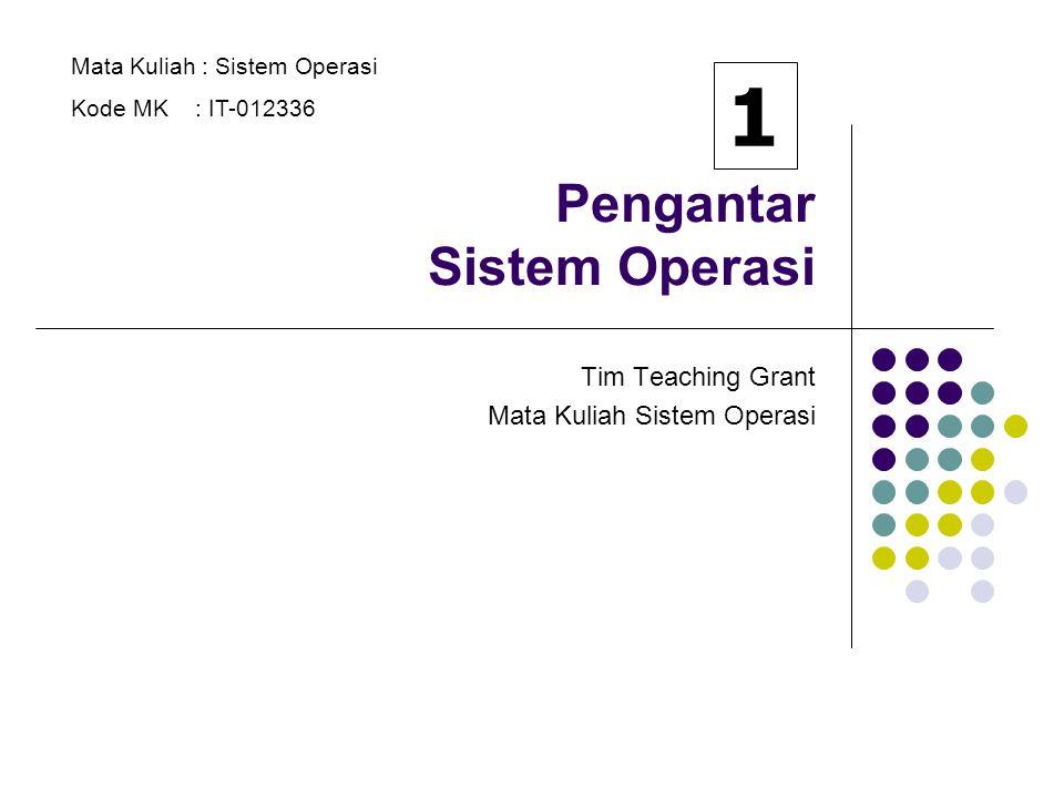 Pengantar Sistem Operasi Tim Teaching Grant Mata Kuliah Sistem Operasi Mata Kuliah : Sistem Operasi Kode MK : IT-012336 1