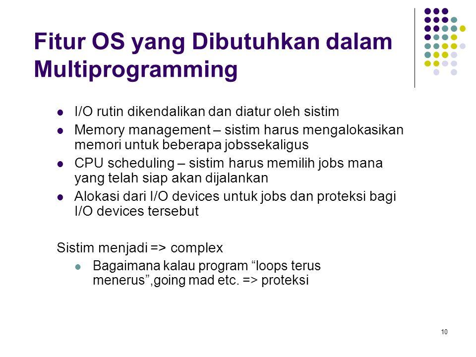 10 Fitur OS yang Dibutuhkan dalam Multiprogramming I/O rutin dikendalikan dan diatur oleh sistim Memory management – sistim harus mengalokasikan memori untuk beberapa jobssekaligus CPU scheduling – sistim harus memilih jobs mana yang telah siap akan dijalankan Alokasi dari I/O devices untuk jobs dan proteksi bagi I/O devices tersebut Sistim menjadi => complex Bagaimana kalau program loops terus menerus ,going mad etc.