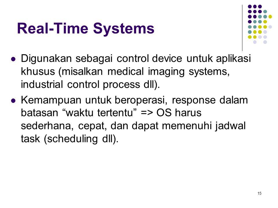15 Real-Time Systems Digunakan sebagai control device untuk aplikasi khusus (misalkan medical imaging systems, industrial control process dll).