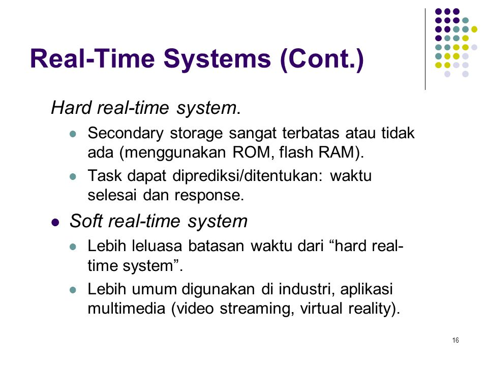 16 Real-Time Systems (Cont.) Hard real-time system.