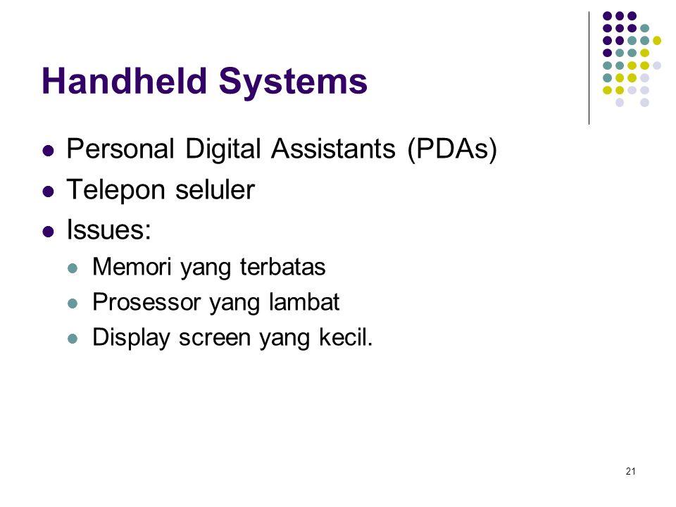 21 Handheld Systems Personal Digital Assistants (PDAs) Telepon seluler Issues: Memori yang terbatas Prosessor yang lambat Display screen yang kecil.