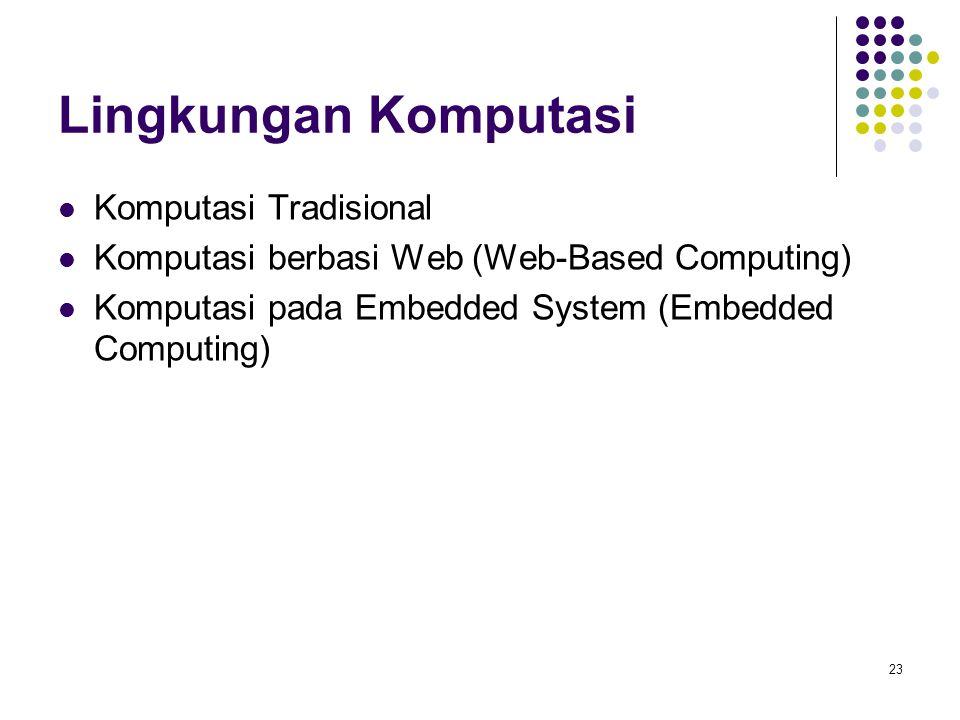 23 Lingkungan Komputasi Komputasi Tradisional Komputasi berbasi Web (Web-Based Computing) Komputasi pada Embedded System (Embedded Computing)