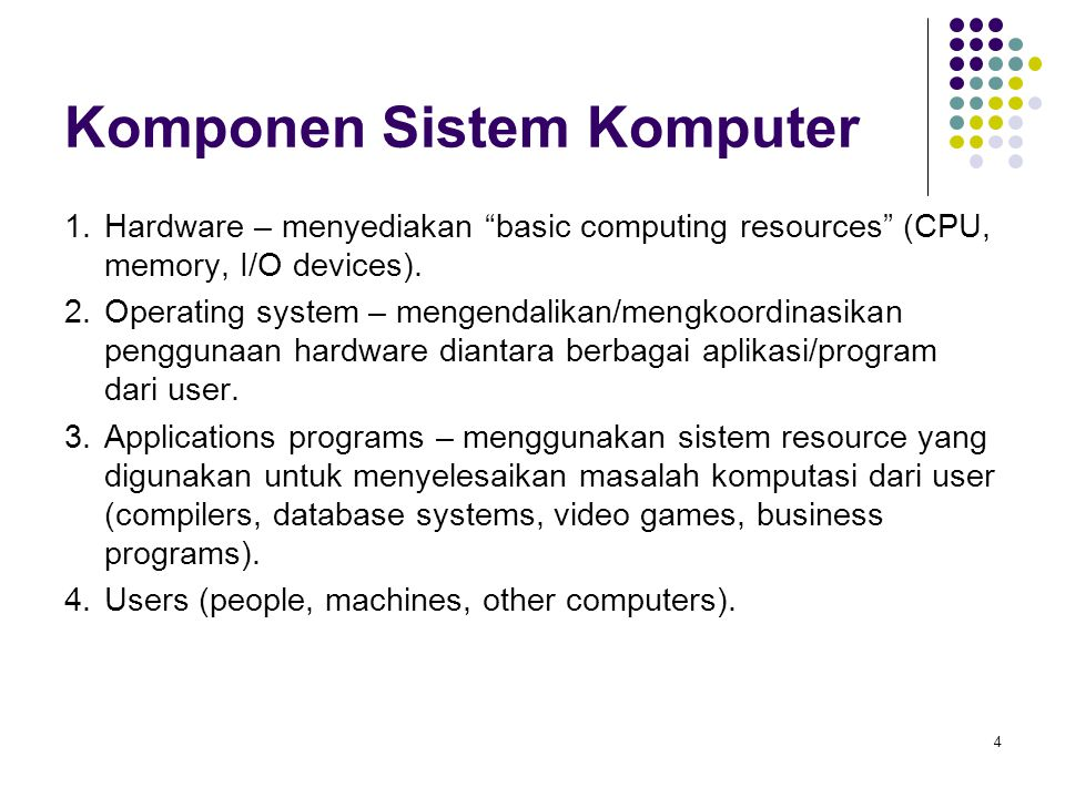 4 Komponen Sistem Komputer 1.Hardware – menyediakan basic computing resources (CPU, memory, I/O devices).