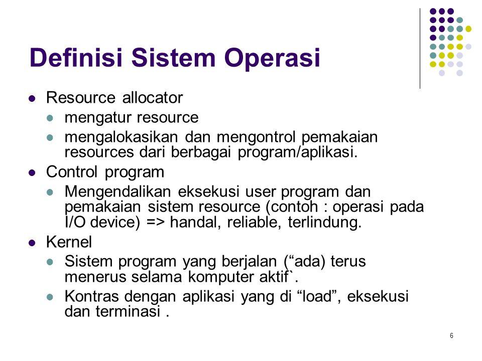 6 Definisi Sistem Operasi Resource allocator mengatur resource mengalokasikan dan mengontrol pemakaian resources dari berbagai program/aplikasi.