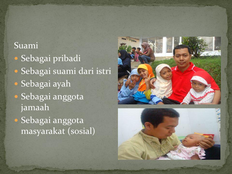 Suami Sebagai pribadi Sebagai suami dari istri Sebagai ayah Sebagai anggota jamaah Sebagai anggota masyarakat (sosial)